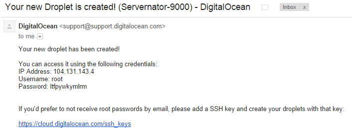 DigitalOcean Root Email