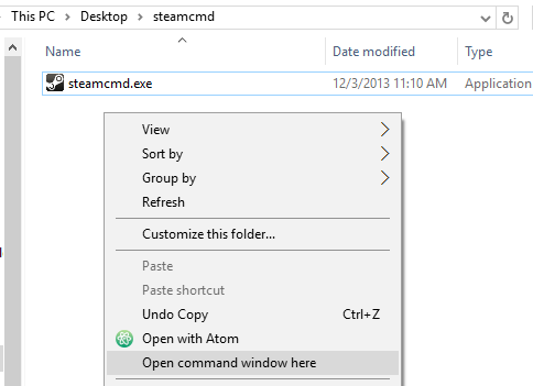 Steam Cmd Prompt Folder