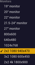 Custom Screen Sizes listed in the dropdown.